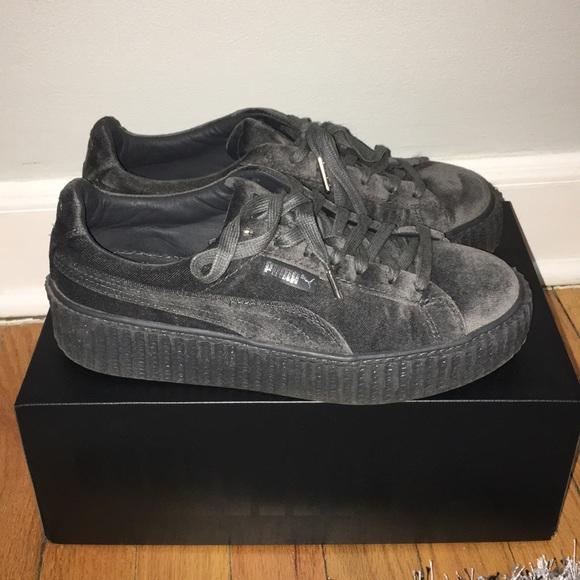 online store f4ccb 974f2 Fenty Puma Grey Velvet Creepers